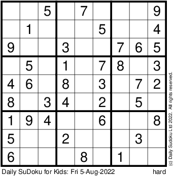 Sudoku  Kids Printable on Visit Www Dailysudoku Com For More Puzzles  Solutions  Hints  Books