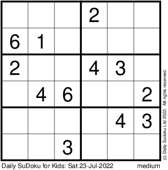 Printable Sudoku  Kids on Visit Www Dailysudoku Com For More Puzzles  Solutions  Hints  Books