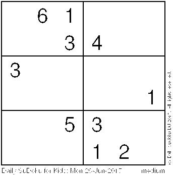 Daily Sudoku for Kids: Mon 26-Jun-2017