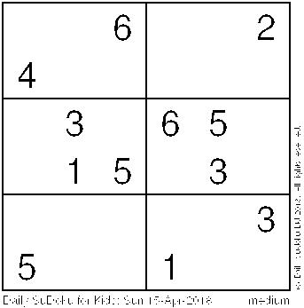 Daily Sudoku for Kids: Sun 15-Apr-2018