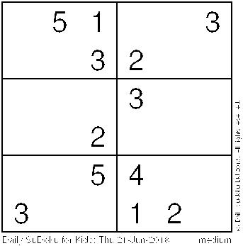 Daily Sudoku for Kids: Thu 21-Jun-2018