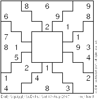 Daily Squiggly Sudoku: Sat 19-Aug-2017