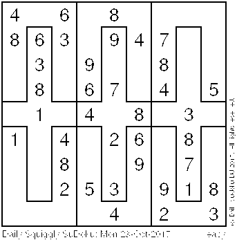 Daily Squiggly Sudoku: Mon 23-Oct-2017