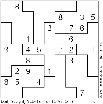 Daily Squiggly Sudoku: Tue 12-Jun-2018