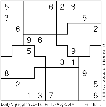 Daily Squiggly Sudoku: Fri 17-Aug-2018